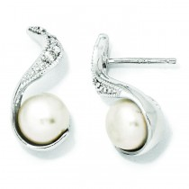 CZ Cultured Pearl Swirl Post Earrings in Sterling Silver