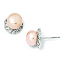CZ Pink Cultured Pearl Stud Earrings in Sterling Silver