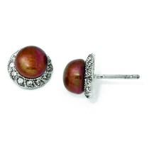 CZ Chocolate Cultured Pearl Stud Earrings in Sterling Silver