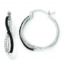 Black White CZ Twisted Hoop Earrings in Sterling Silver