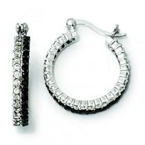 Black White CZ Post Hoop Earrings in Sterling Silver
