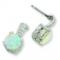Synthetic Opal Cabochon CZ Dangle Post Earrings in Sterling Silver