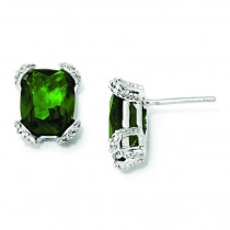 Simulated Emerald CZ Post Earrings in Sterling Silver
