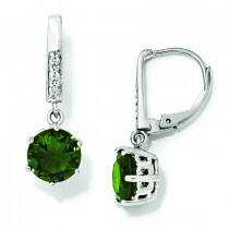 Simulated Emerald CZ Leverback Earrings in Sterling Silver
