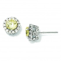 Canary White CZ Round Post Earrings in Sterling Silver