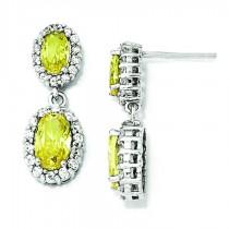 Oval Canary CZ Dangle Post Earrings in Sterling Silver