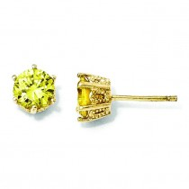Yellow CZ Stud Earrings in Sterling Silver