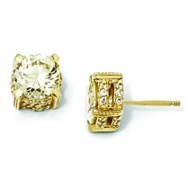Canary CZ Stud Earrings in Sterling Silver