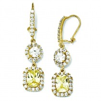 Canary White CZ French Wire Earrings in Sterling Silver
