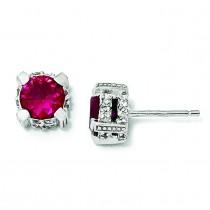 Synthetic Ruby CZ Stud Earrings in Sterling Silver