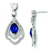 Marquise Synthetic Sapphire CZ Dangle Post Earrings in Sterling Silver