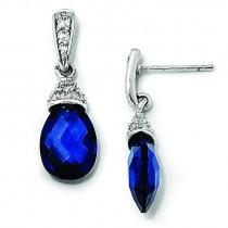 Teardrop Synthetic Sapphire CZ Dangle Post Earrings in Sterling Silver