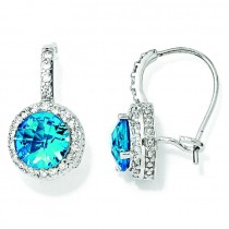 Checker cut Simulated Blue Topaz CZ French Wire Earrings in Sterling Silver