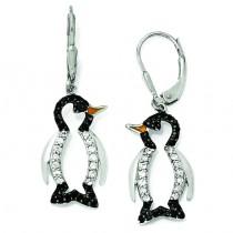 Enameled Black White CZ Penguin Leverback Earrings in Sterling Silver