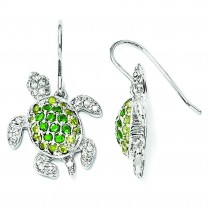 Simulated Peridot Simulated Emerald CZ Turtle Earrings in Sterling Silver