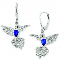 Synthetic Sapphire Hummingbird Leverback Earrings in Sterling Silver