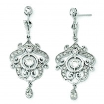 CZ Chandelier Dangle Post Earrings in Sterling Silver