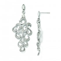 CZ Fancy Dangle Post Earrings in Sterling Silver
