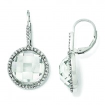 CZ Circle Dangle Earrings in Sterling Silver