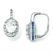 CZ Synthetic Blue Spinel Dangle Earrings in Sterling Silver