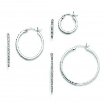 Diamond Mystique Oval Round Hinged Hoop Earrings Set in Sterling Silver (0.03 Ct. tw.)