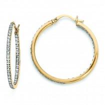 Diamond Mystique Round Hinged Hoop Earrings in Sterling Silver (0.01 Ct. tw.)