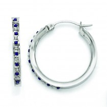 Platinum Diamond Sapphire Round Hinged Hoop Earrings in Sterling Silver (0.01 Ct. tw.)