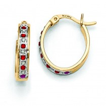 Diamond Ruby Oval Hinged Hoop Earrings in Sterling Silver (0.01 Ct. tw.)