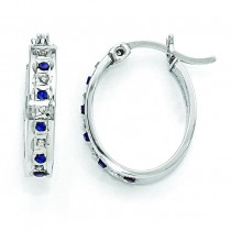 Platinum Diamond Sapphire Oval Hinged Hoop Earrings in Sterling Silver (0.01 Ct. tw.)