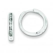 Baguettes Round Diamonds Hoop Earrings in Sterling Silver