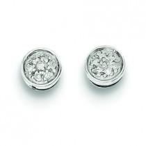 Rhodium Diamond Circle Post Earrings in Sterling Silver