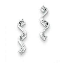 Rhodium Diamond Wavy Post Earrings in Sterling Silver
