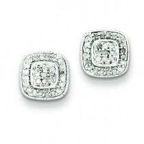 Diamond Post Earrings in Sterling Silver