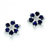 Rhodium Sapphire Diamond Heart Post Earrings in Sterling Silver