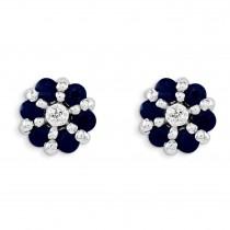 Rhodium Sapphire Diamond Post Earrings in Sterling Silver