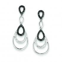 Black White Diamond Earrings in Sterling Silver