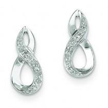 Rhodium Diamond Post Earrings in Sterling Silver