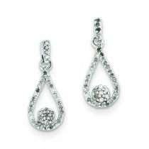Diamond Teardrop Post Earrings in Sterling Silver