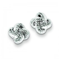 Diamond Knot Post Earrings in Sterling Silver