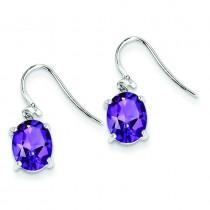 Rhodium Amethyst Wire Earrings in Sterling Silver