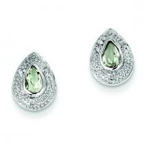 Rhodium Green Amethyst Diamond Post Earrings in Sterling Silver