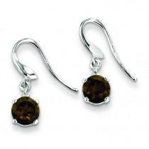 Stelring Silver Rhodium Rd Smokey Quartz Diamond Wire Earrings in Sterling Silver