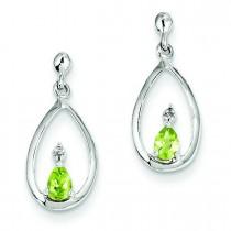 Rhodium Pear Peridot Diamond Post Earrings in Sterling Silver