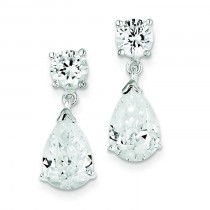 CZ Pear Shaped Dangle Earrings in Sterling Silver