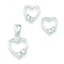 Heart With CZ Earrings Pendant Set in Sterling Silver