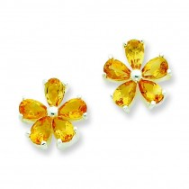 Citrine Floral Earrings in Sterling Silver