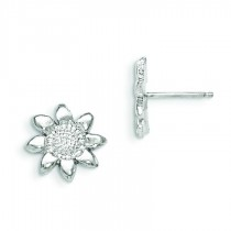 Flower Mini Earrings in Sterling Silver