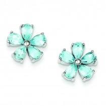 Flower Blue Topaz Earrings in Sterling Silver