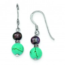 Fresh Water Cultured Black Pearl Turquoise Dangle Earrings in Sterling Silver