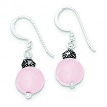 Rose Quartz With Antiqued Bead Dangle Earrings in Sterling Silver